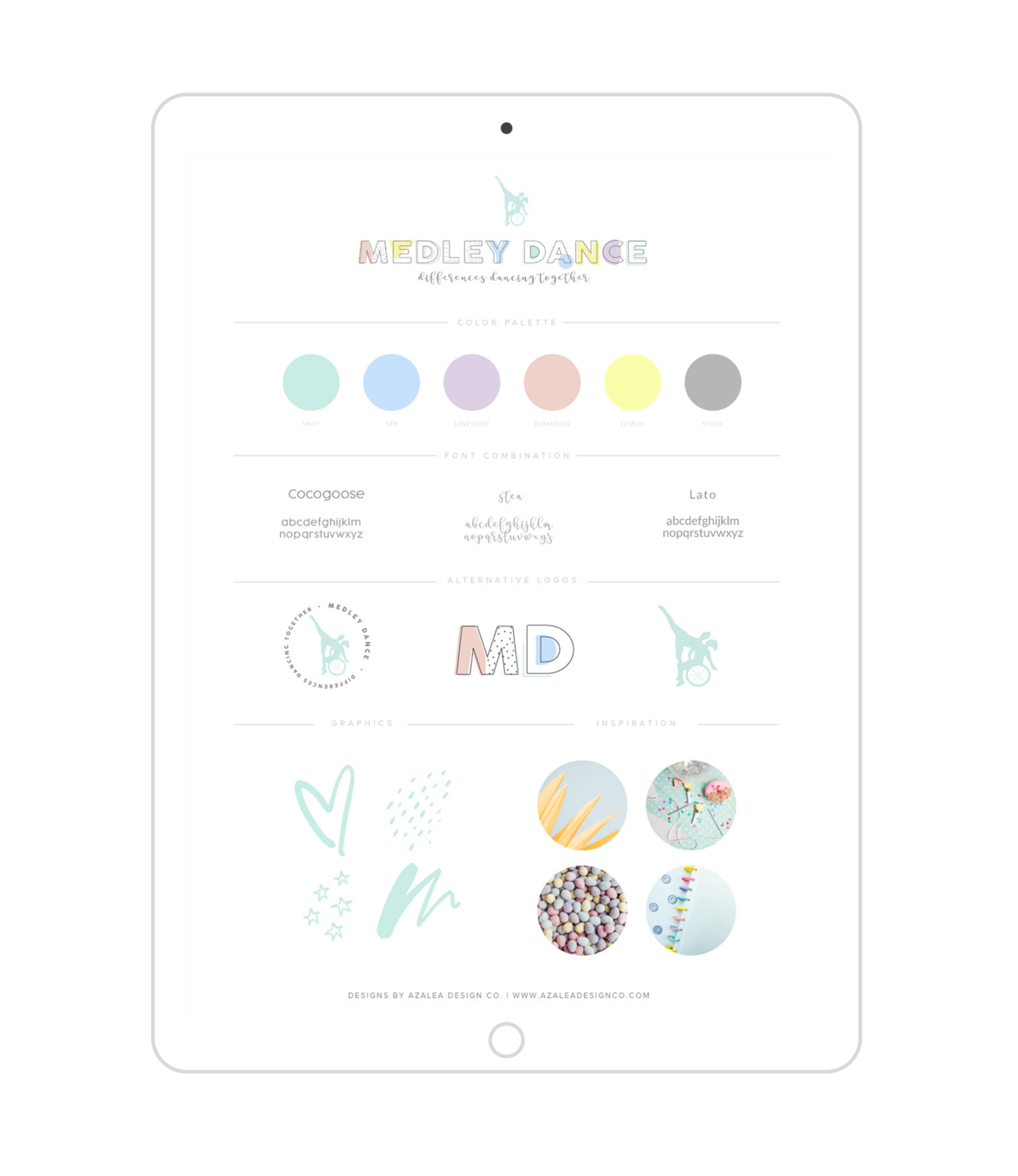 Medley Dance Branding on iPad screen