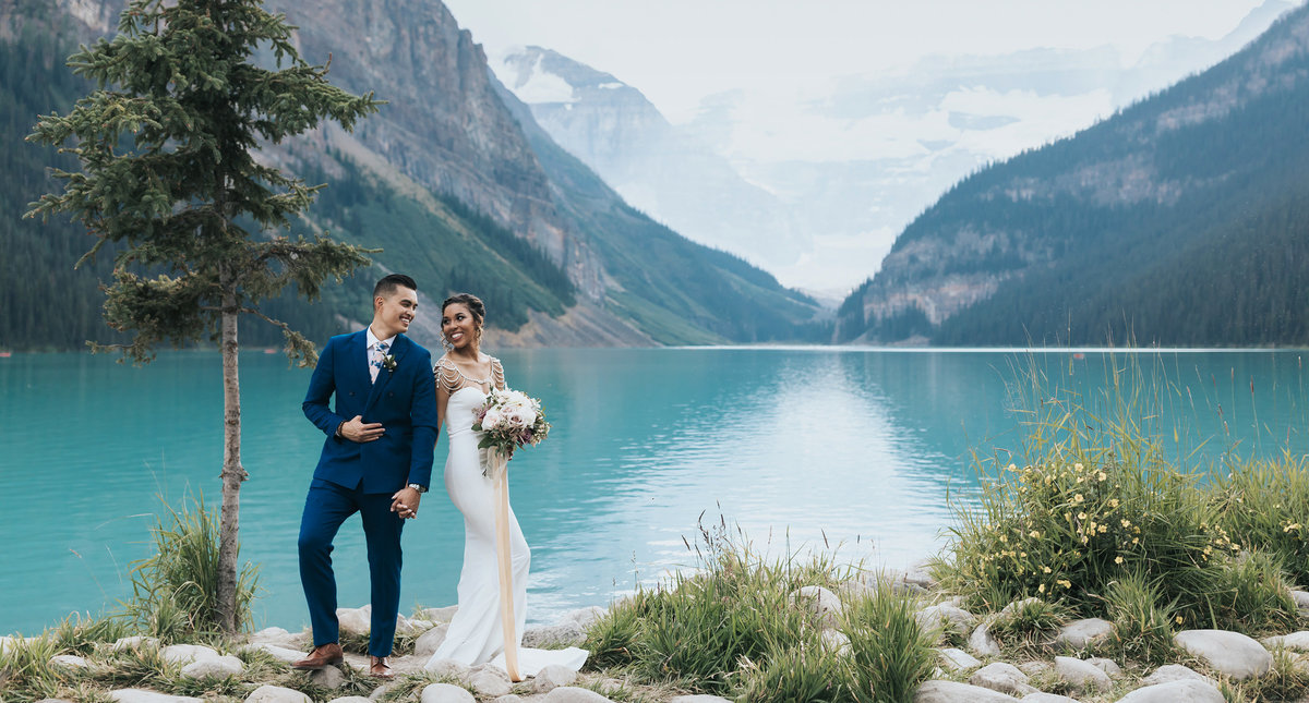 lake Louise intimate wedding elopement photos