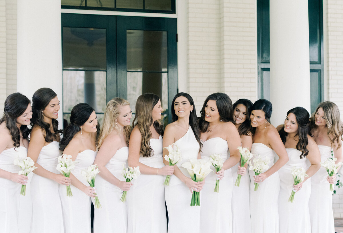 White bridal party gowns for gorgeous wedding  at Old Waverly in MS
