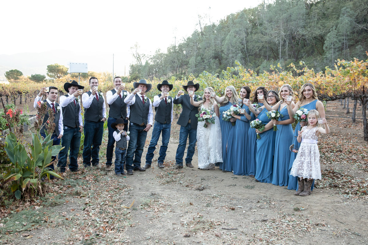 bridal party in vineyards