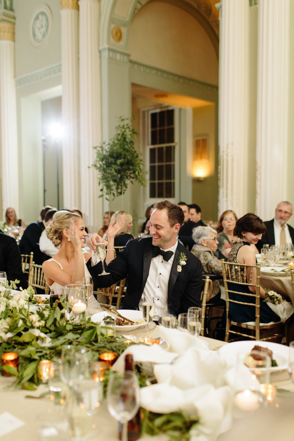 Georgian Ballroom reception celebration.  Real wedding moment captured by Rebecca Cerasani.