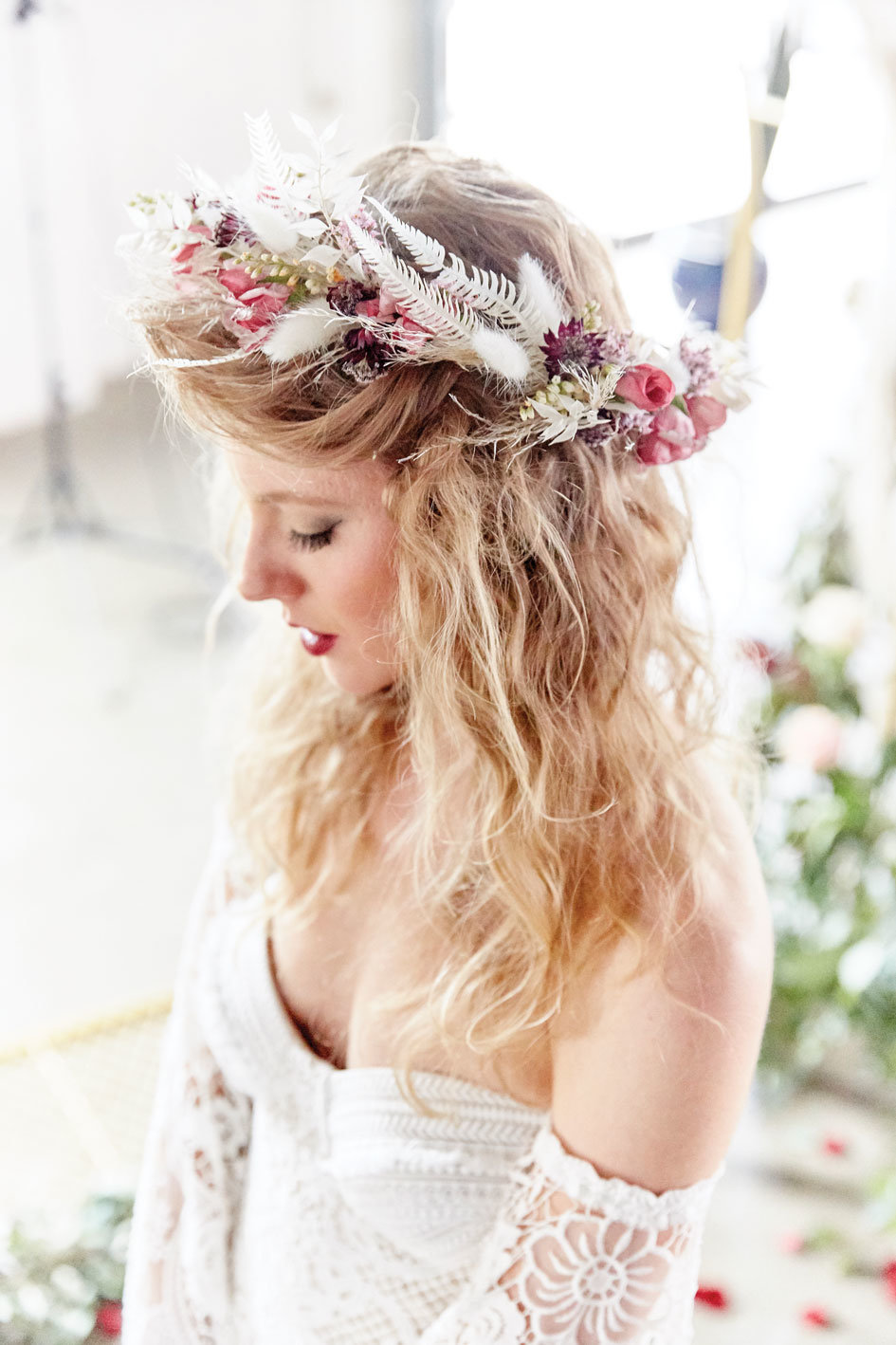 mn bride floral crown studio fleurette