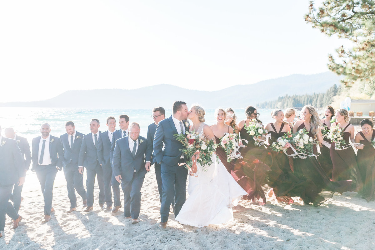 bride and groom with bridesmaids and groomsmen in Lake Tahoe
