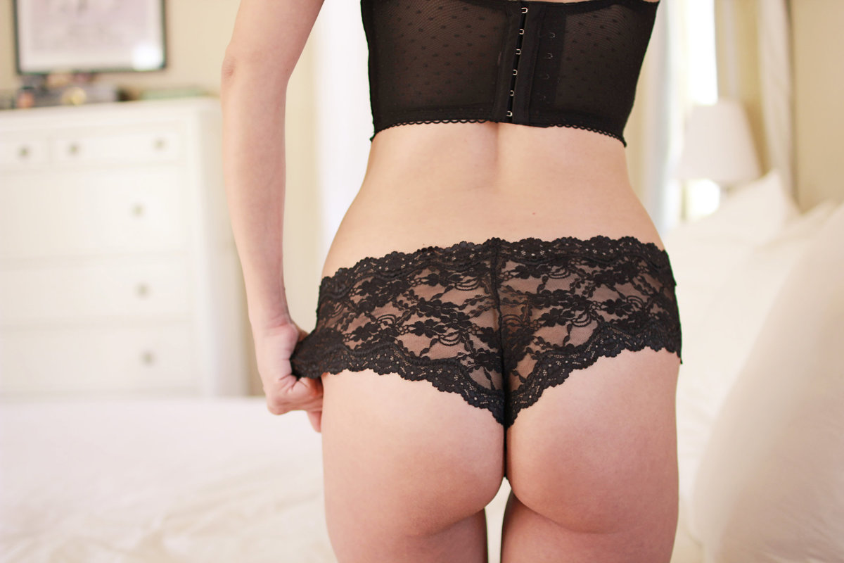 Back side of female body in sexy black lingerie