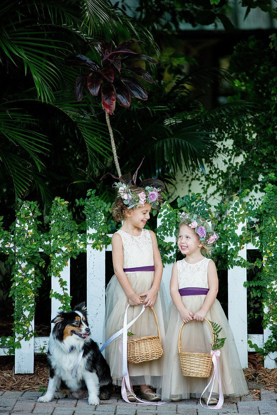 flower girls and ring puppy
