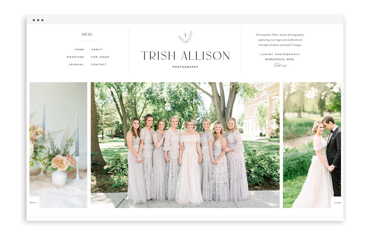 Trish Allison Photography - Web Design for Photographers by With Grace and Gold - Luxury Website, Classic Website, Polished Website - 0