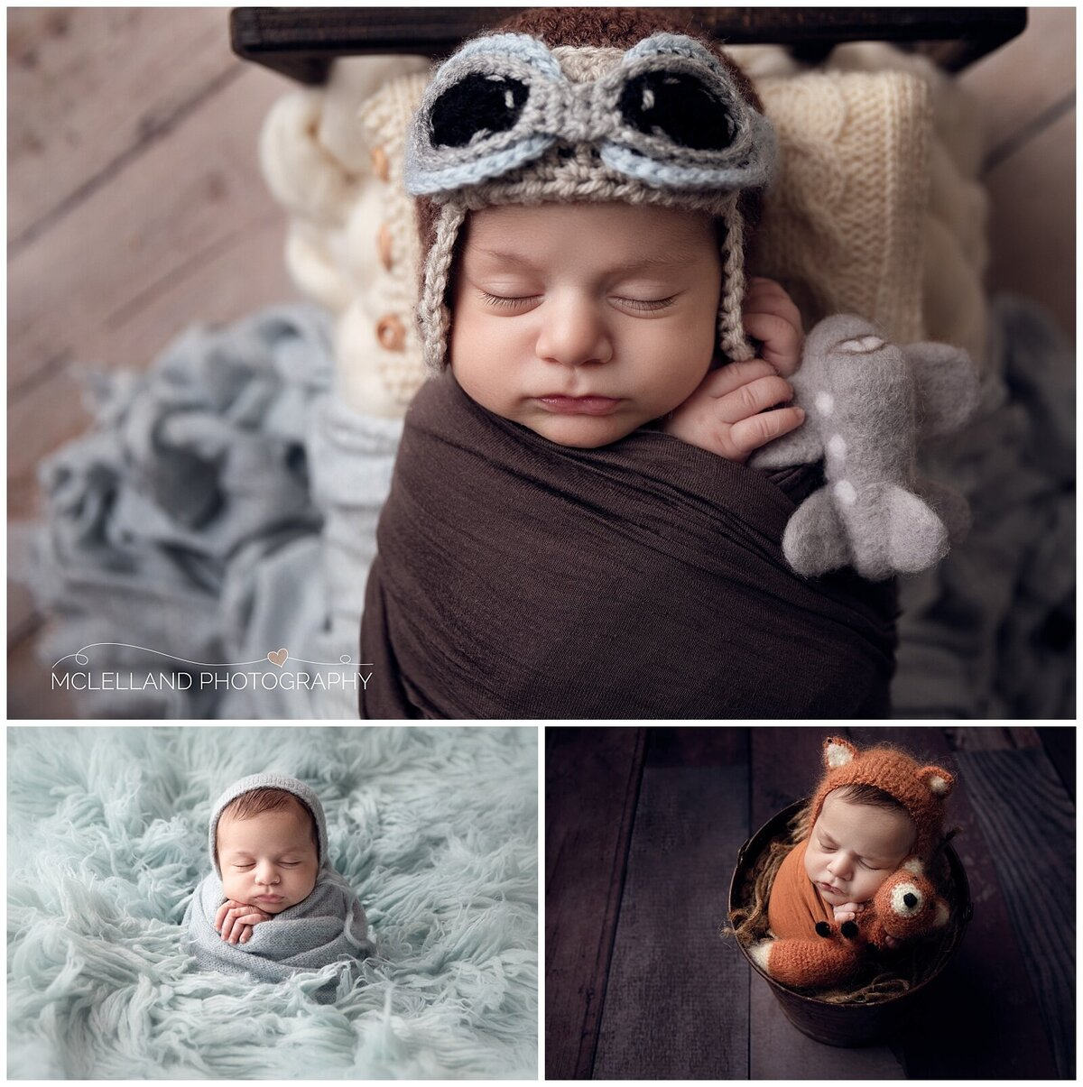 Baby boy at his newborn session with McLelland Photography