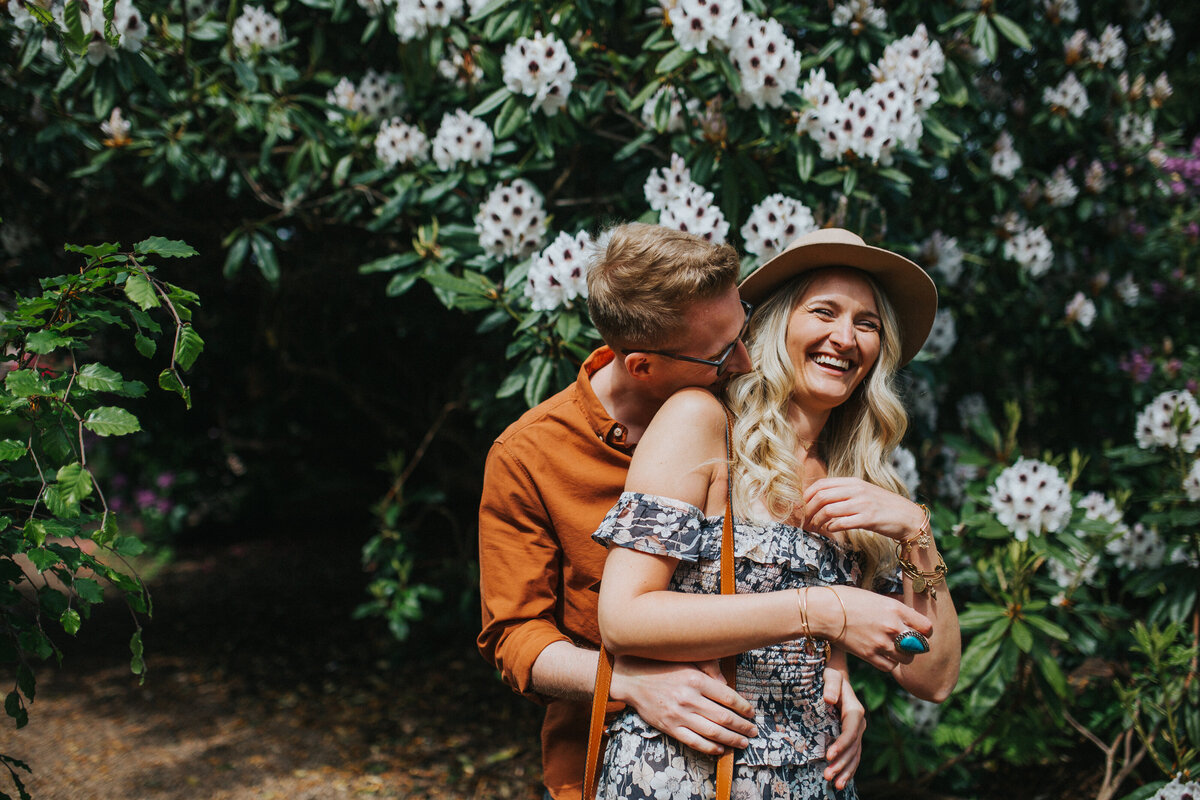 Boho couple's engagement photography at Birmingham Botanical Gardens