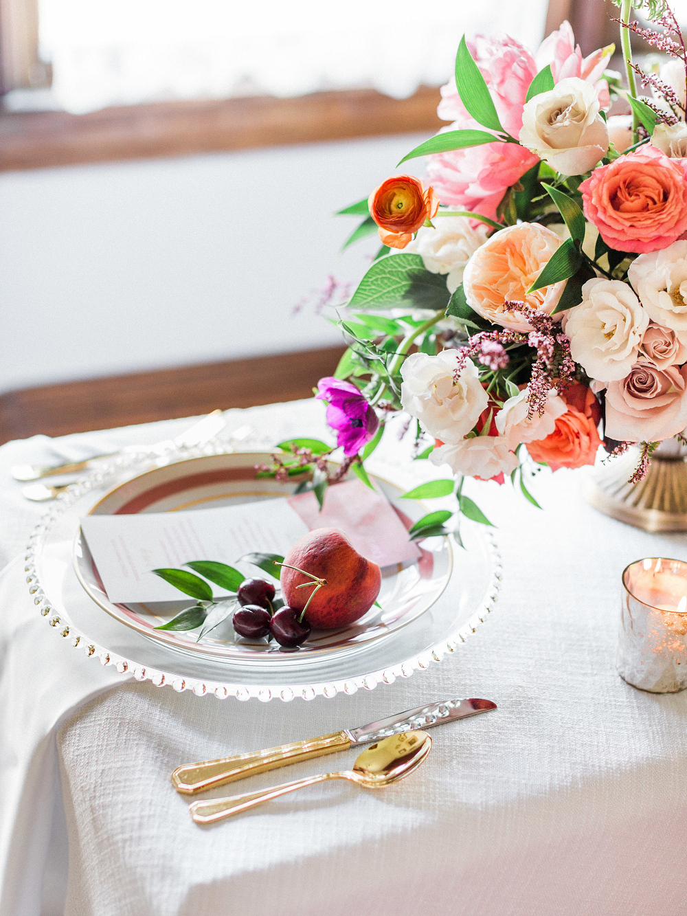 Whimsical Summer Wedding Styled Shoot at Henderson Castle Vintage Plates peaches cherries