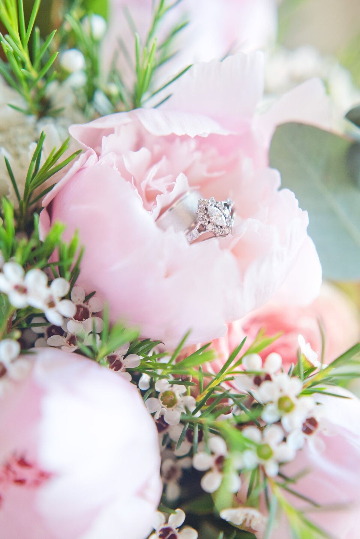 Close up of wedding ring in bridal bouquet for Fort Worth Wedding