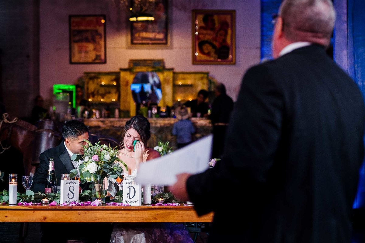 bride crying wedding at epic railyard in el paso by stephane lemaire photography