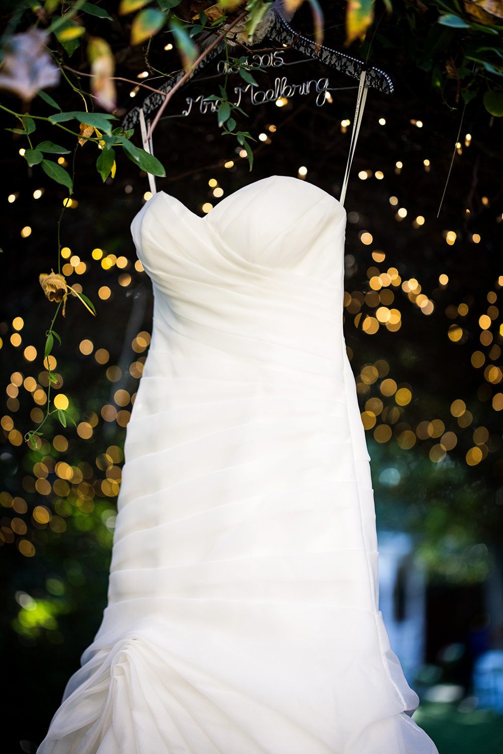 Twin Oaks wedding photos dress hanging in trees