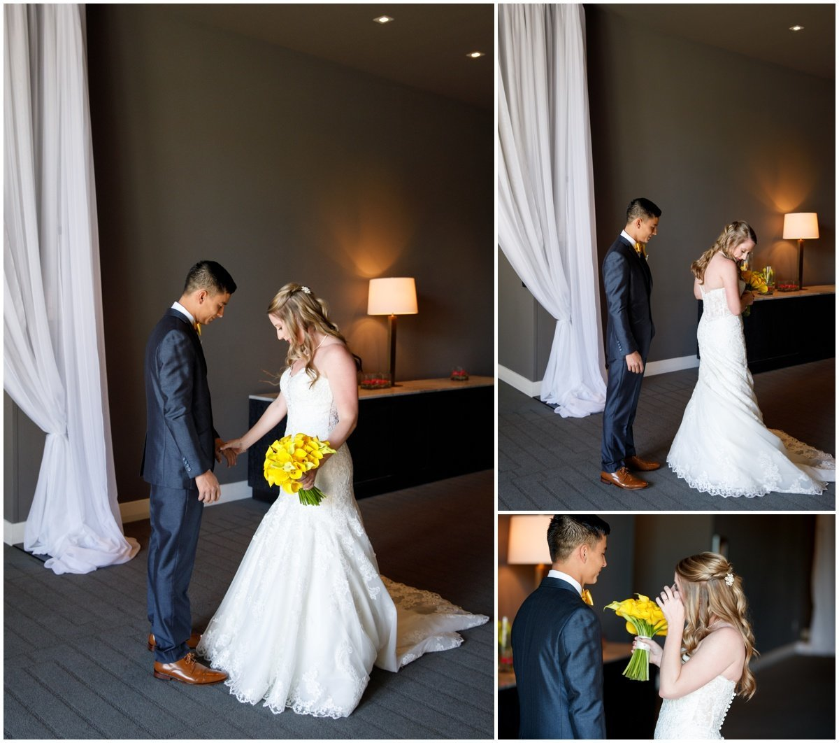 Austin wedding photographer w hotel wedding photographer bride groom talking crying