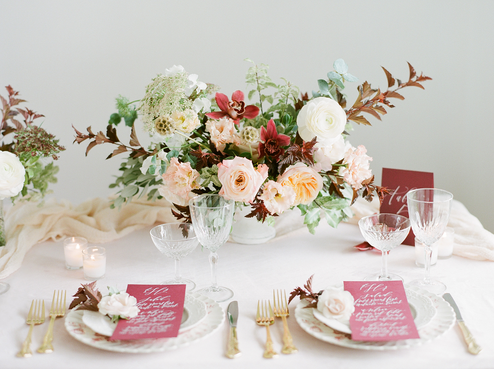 Burgundy and Blush Wedding Inspiration Styled Shoot Table Display