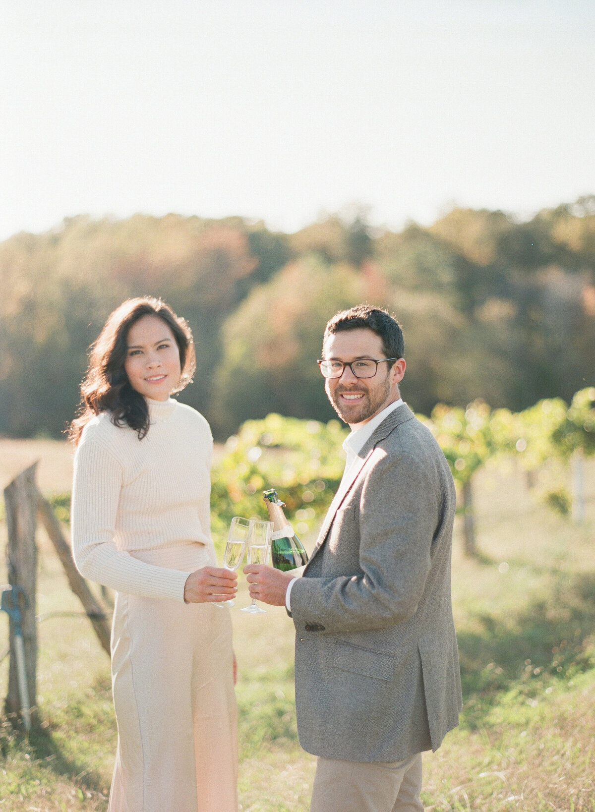French Vineyard Engagement Photography at The Meadows in Raleigh, NC 11