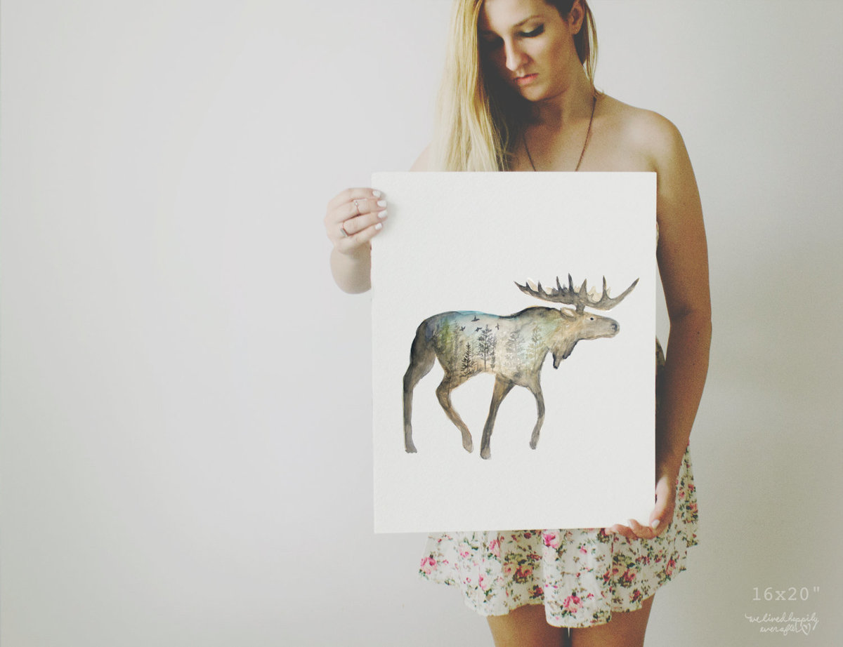Galaxy_Moose_Forest_Profile_Mountain_Night_Printable_Artwork_-_Animal_Nursery_-_Watercolor_-_Norther-490880090-_1