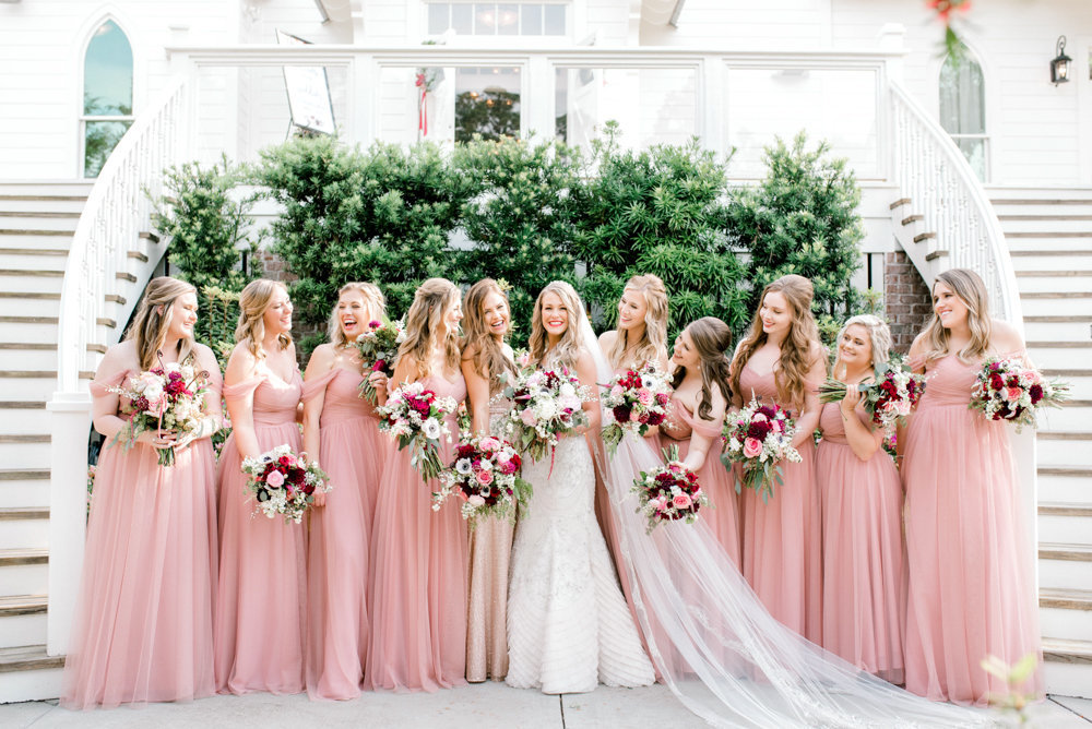 Tybee Wedding Chapel Bride and Bridesmaids pink gowns