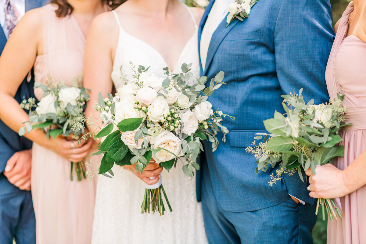 White and greenery wedding bouquets