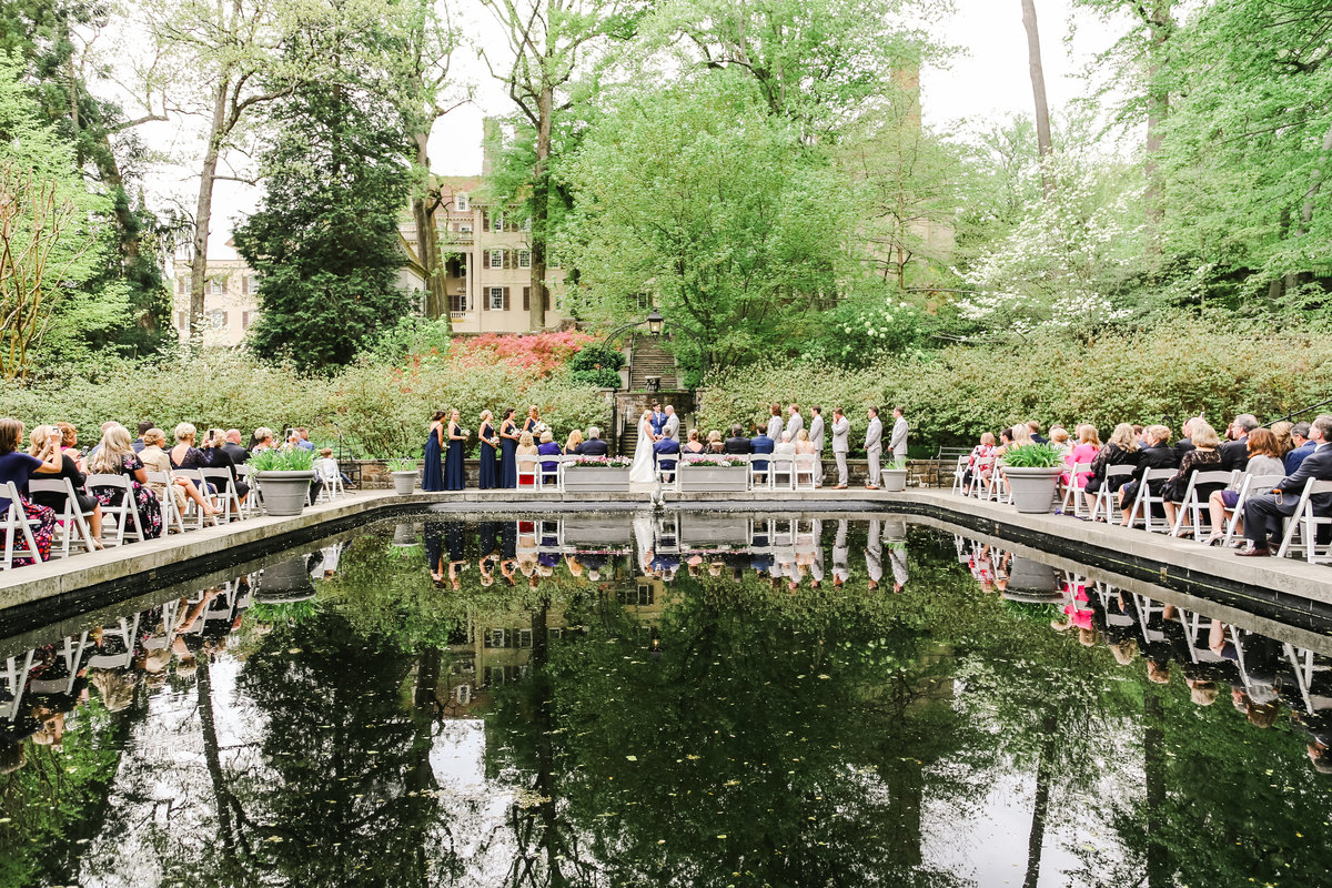 Wintherthur wedding spring reflecting pool ceremony