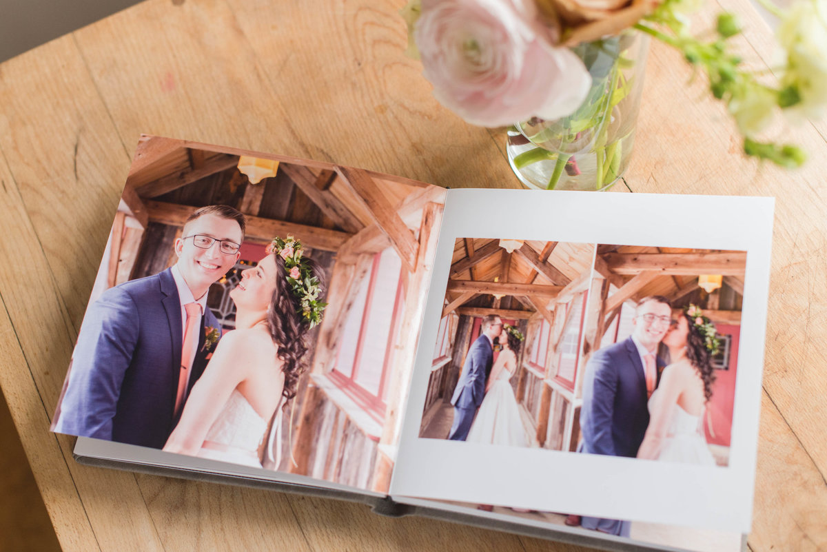 Emily and Nick's layflat wedding album from graphistudio