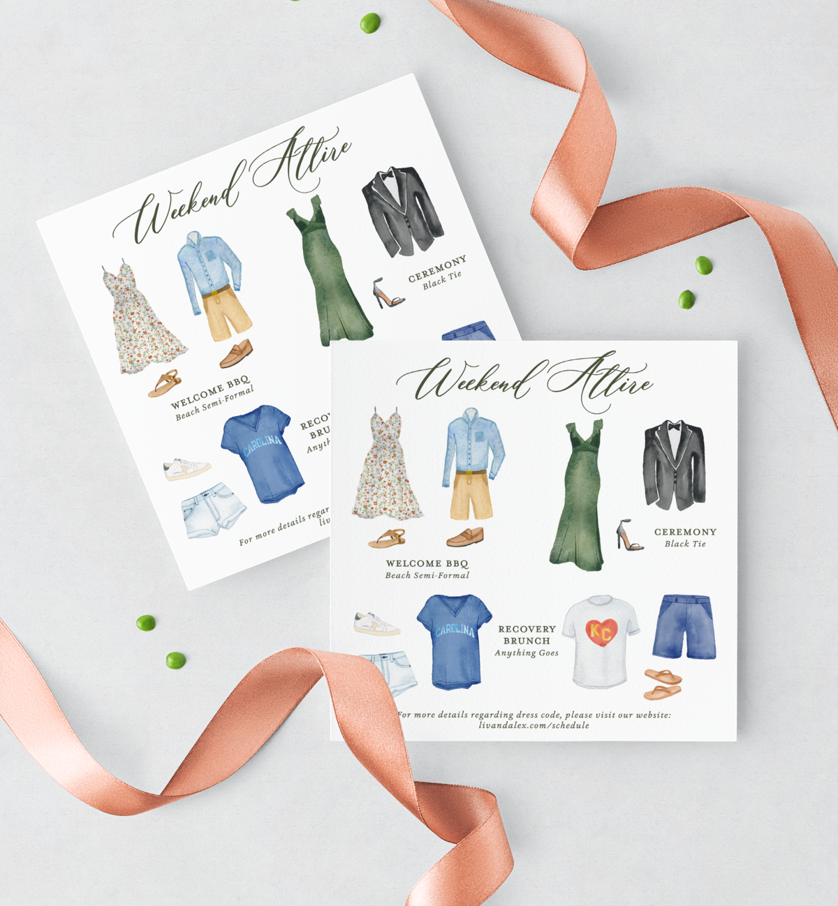 Liv & Alex Attire Cards