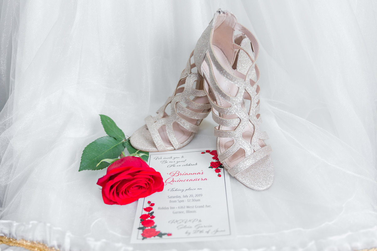 Maira Ochoa Photography, Quinceanera details in Gurnee, red rose, cowgirl boots, heals, dress and crown-14