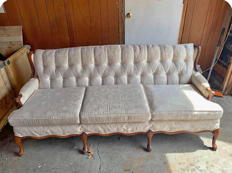 white antique couch