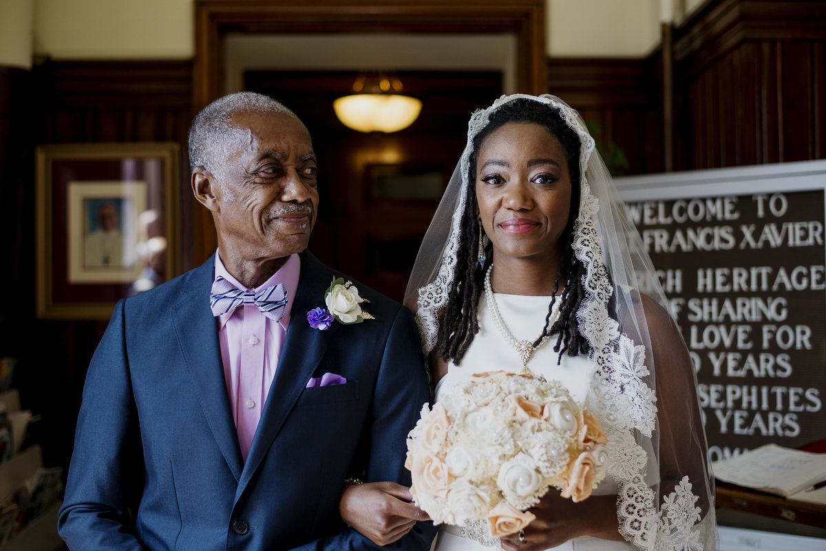 Father of the Bride with Bride in Catholic Church, Baltimore Church Wedding