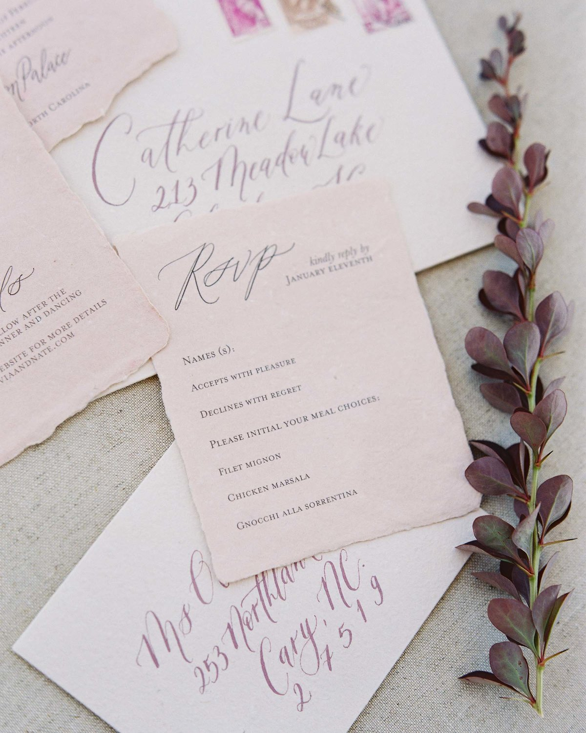 Plume & Fete timeless and elegant wedding invitation suite rsvp card