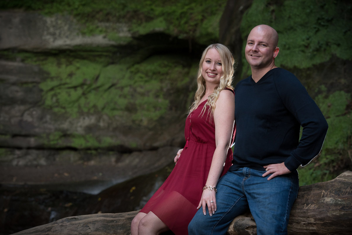 Engagement couple at a staved rock state park waterfall