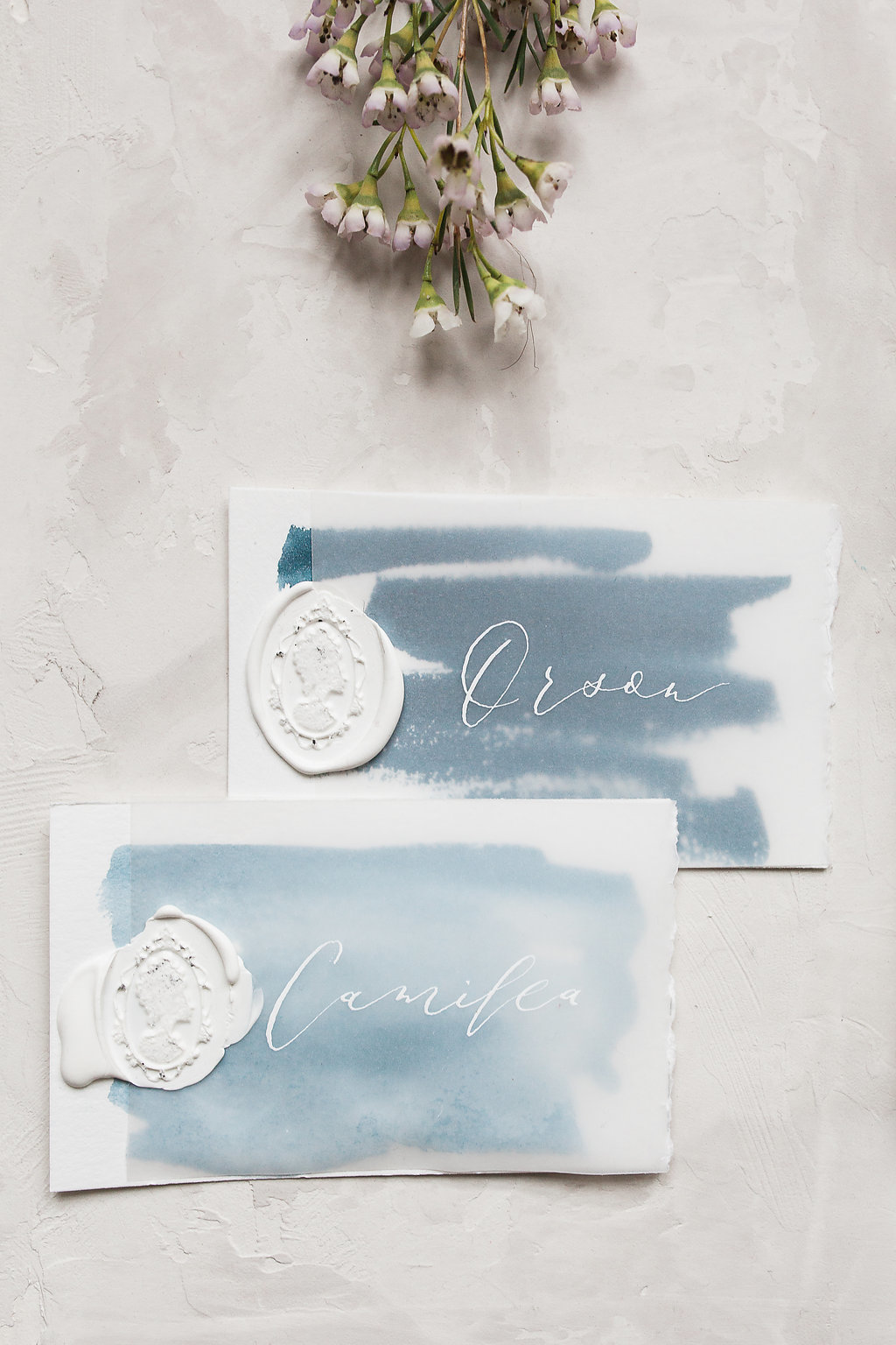 wedding place cards watercolor wax seal