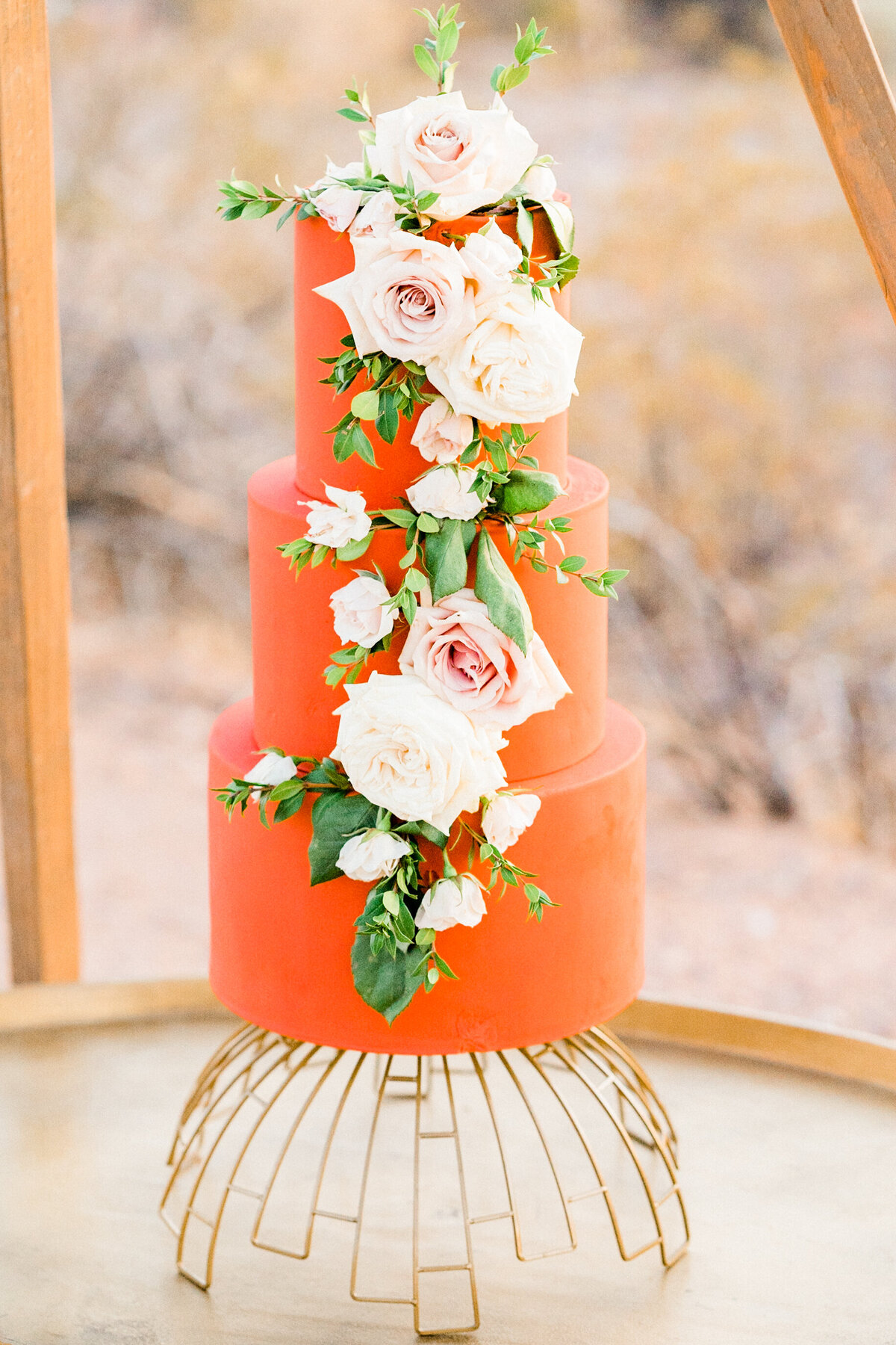 Arizona Wedding Orange Floral Cake - Atlas Rose Photography AZ01
