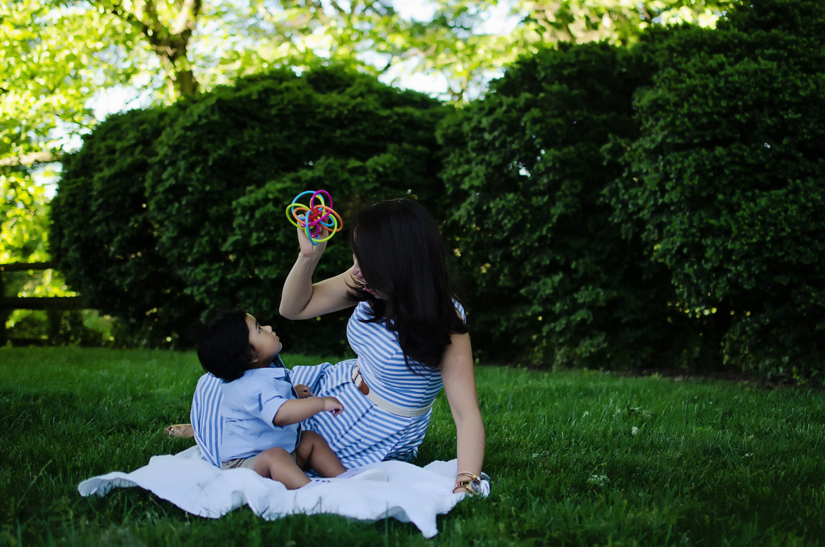 Portrait of a mother and baby playing taken at Glenview Mansion in Rockville by Sarah Alice Photography