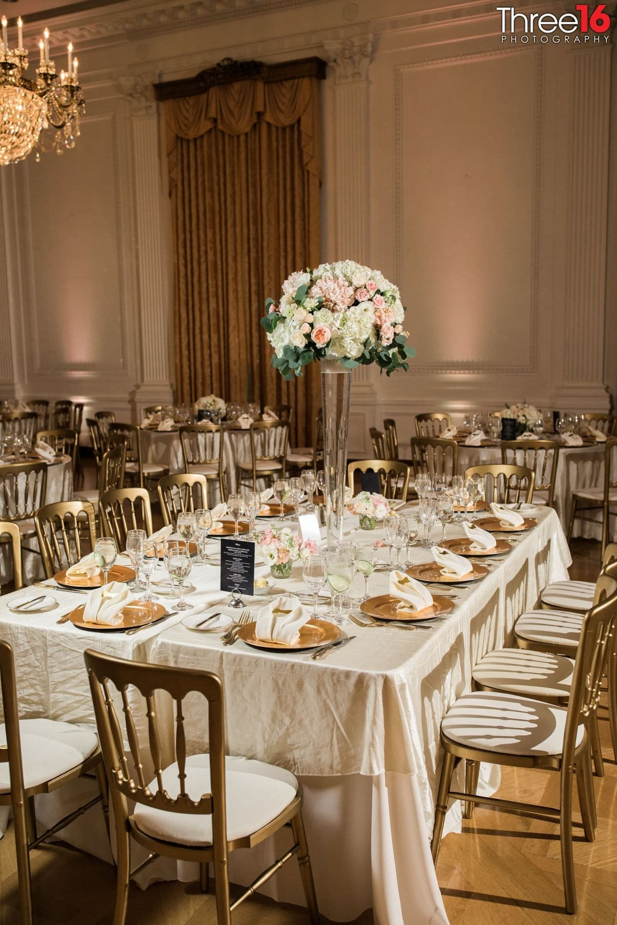 Table design for wedding reception at the Richard Nixon Library