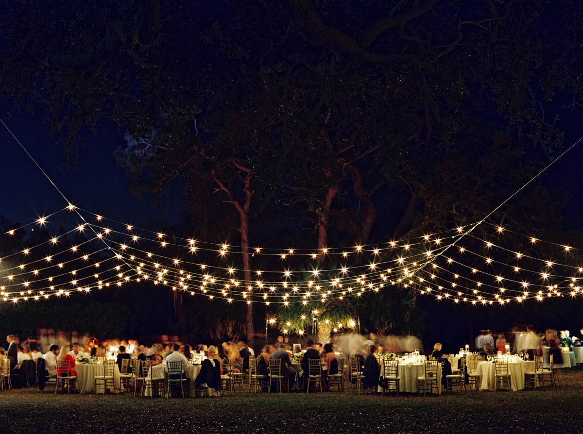 lawn reception in the evening with market lighting