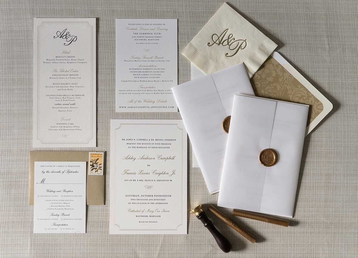 Ashley-InvitationSuite-Letterpress-WaxSeal-ElkridgeClub