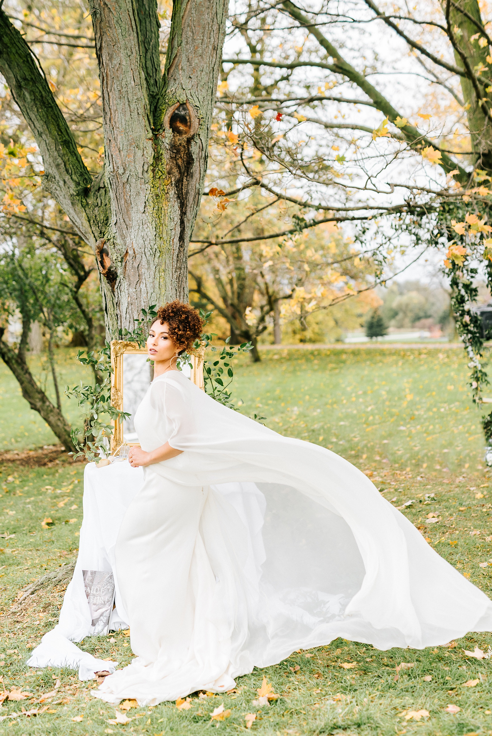 Lush Greenery Wedding Inspired Styled Shoot at Cornman Farms Bride Cape Veil