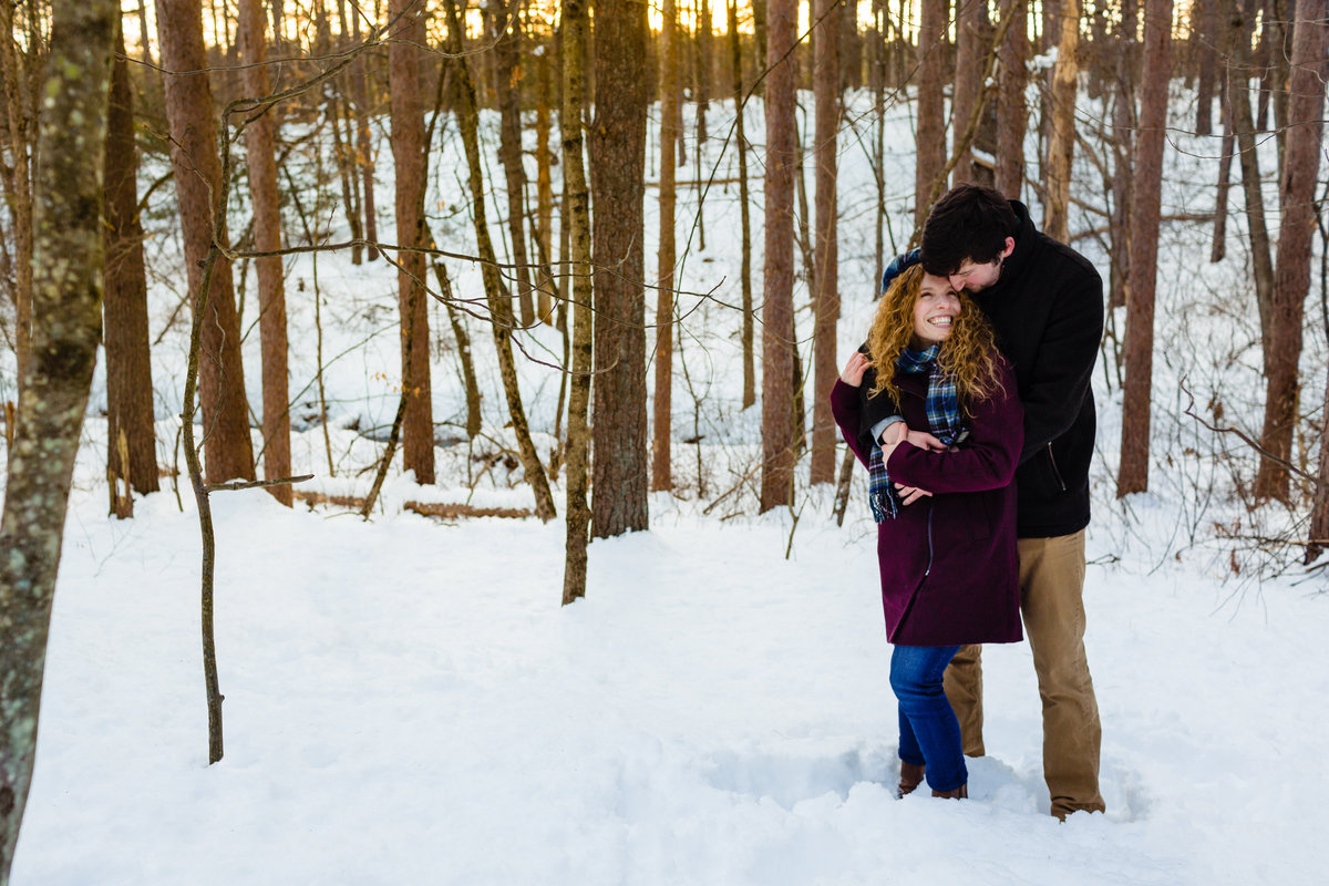 Maine-Wedding-Photographer-Winter-Engagement-Session-Woods-Snow-Sun-Outdoor-Fells-Reservation