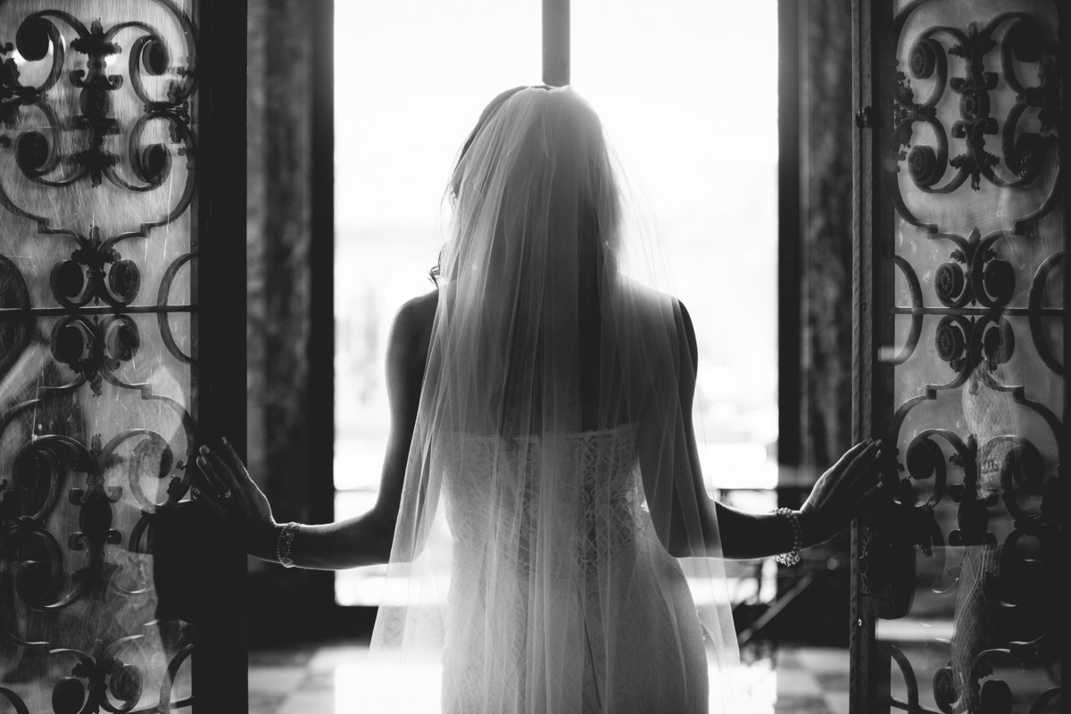 bride silhouette at monmouth university wedding