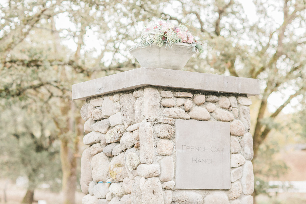 French Oak Ranch Wine Country Wedding Venue Entrance