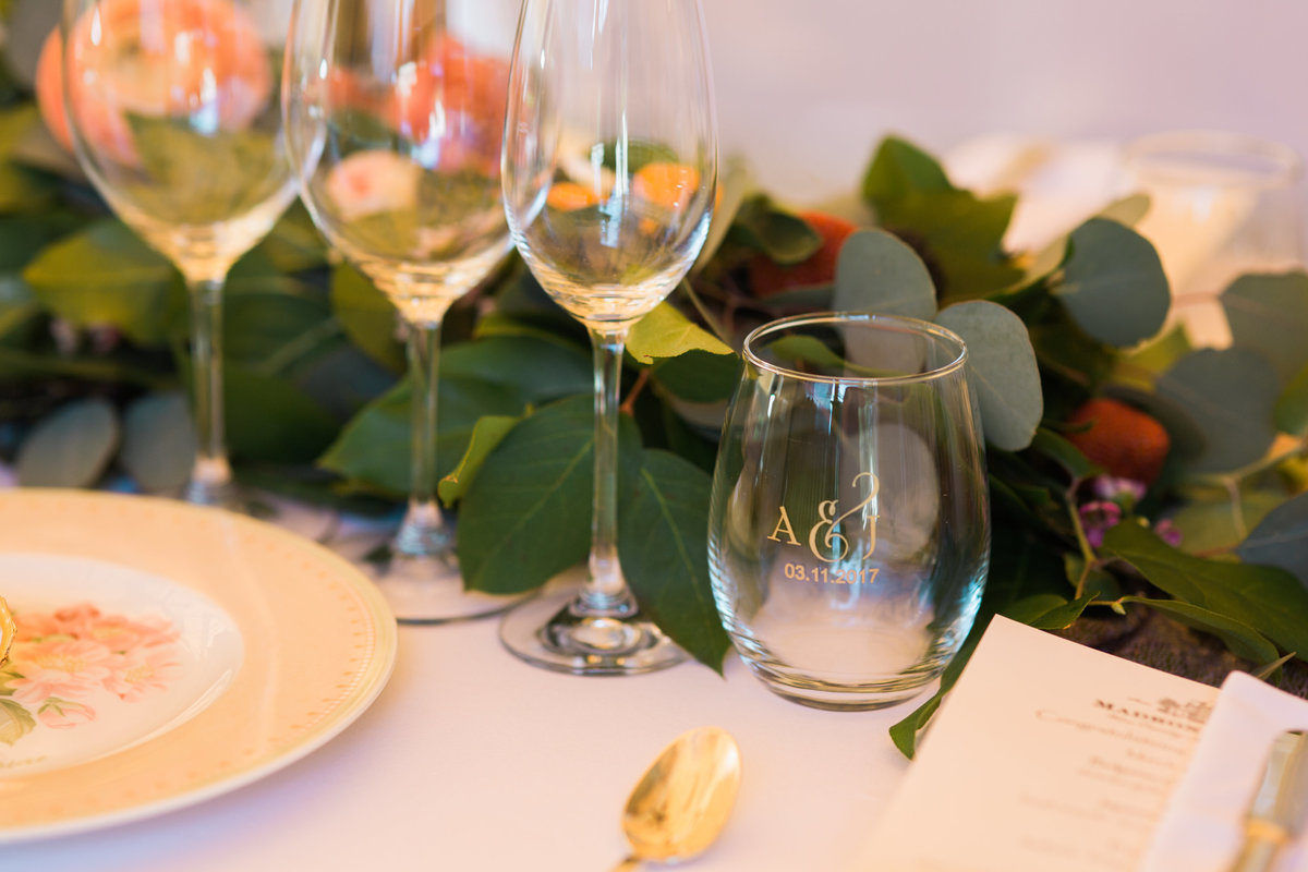 Wedding recetion table details at Madrona Manor in Healdsburg California