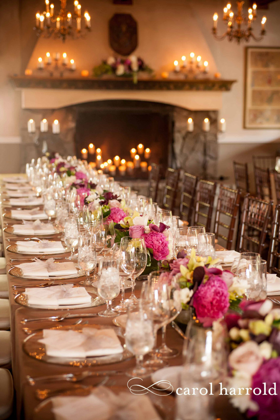 elegant dinner party with long guest tables lined with peony centerpieces, brown Chiavari chairs, at Chateau Lill