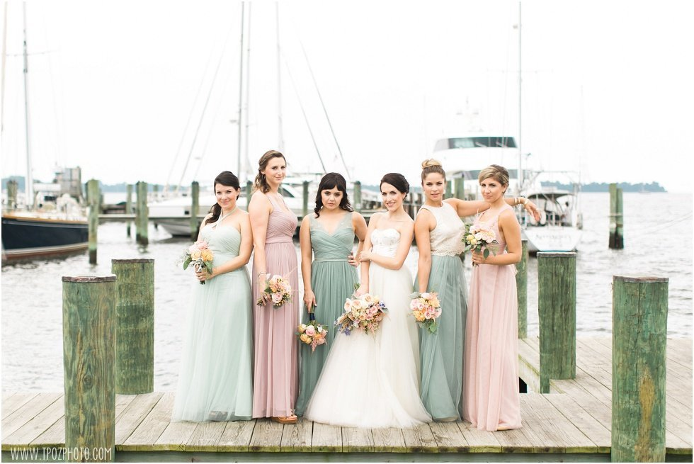 Bridesmaids in mismatched dresses, Annapolis Maritime Museum wedding