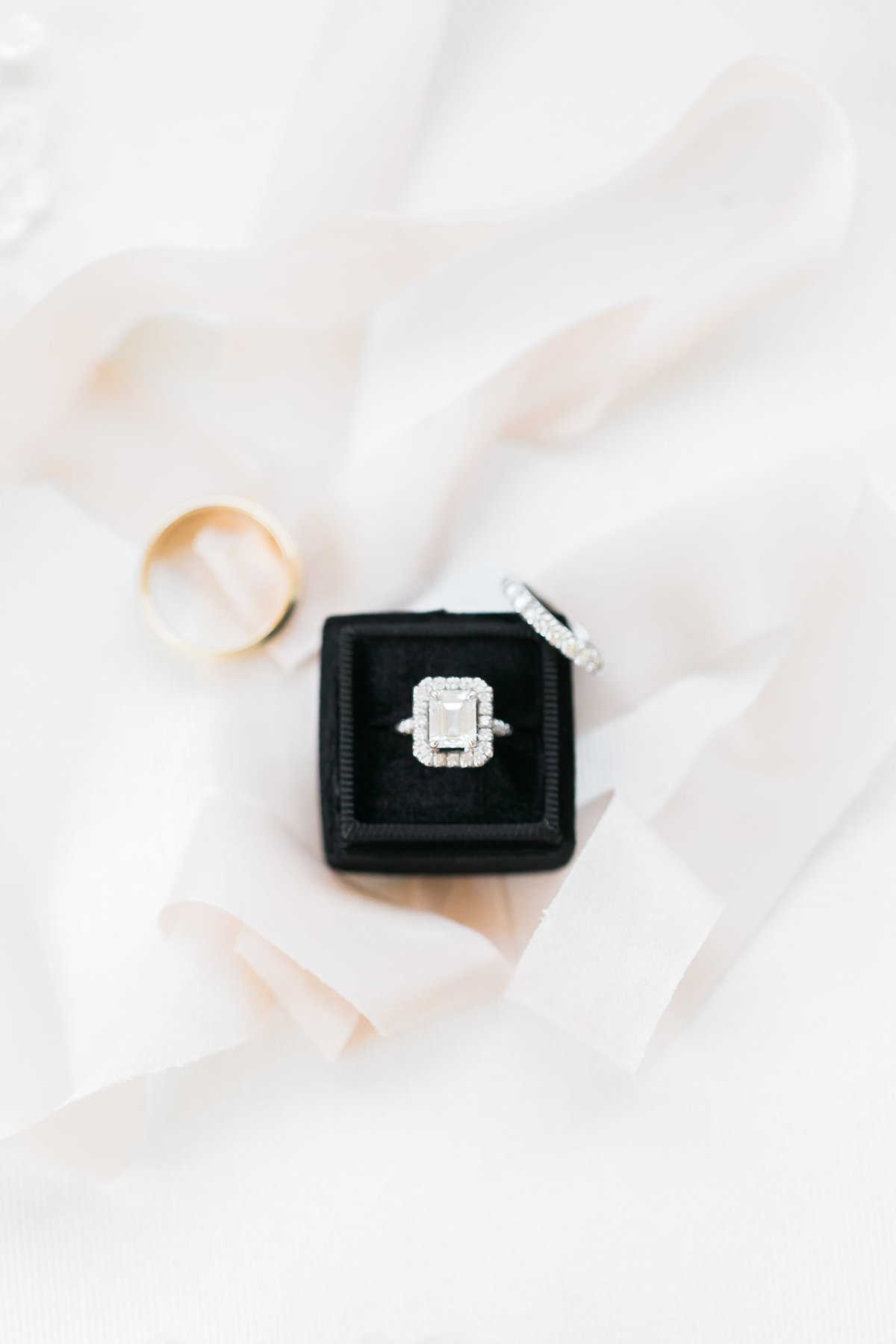 wedding ring in velvet black ring box