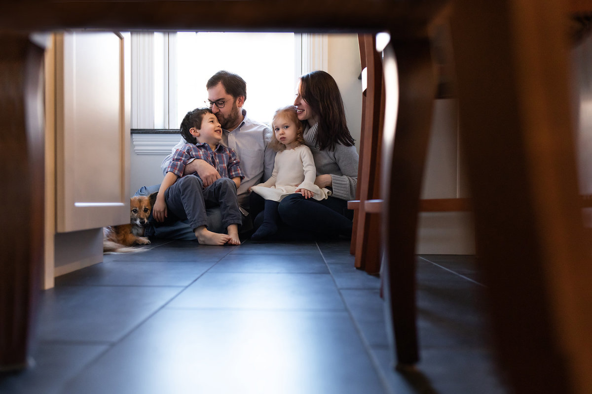Lifestyle Family Portrait in Kitchen