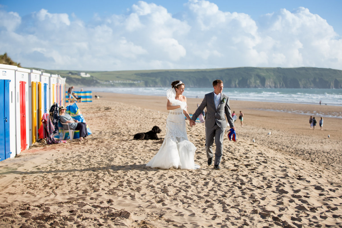 Bride-and-groom-woolacombe-devon-beach