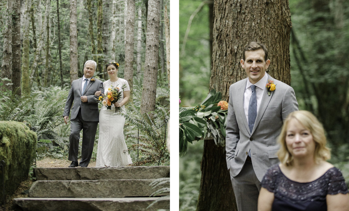 bride walked down aisle by dad groom looks on from forest ceremony