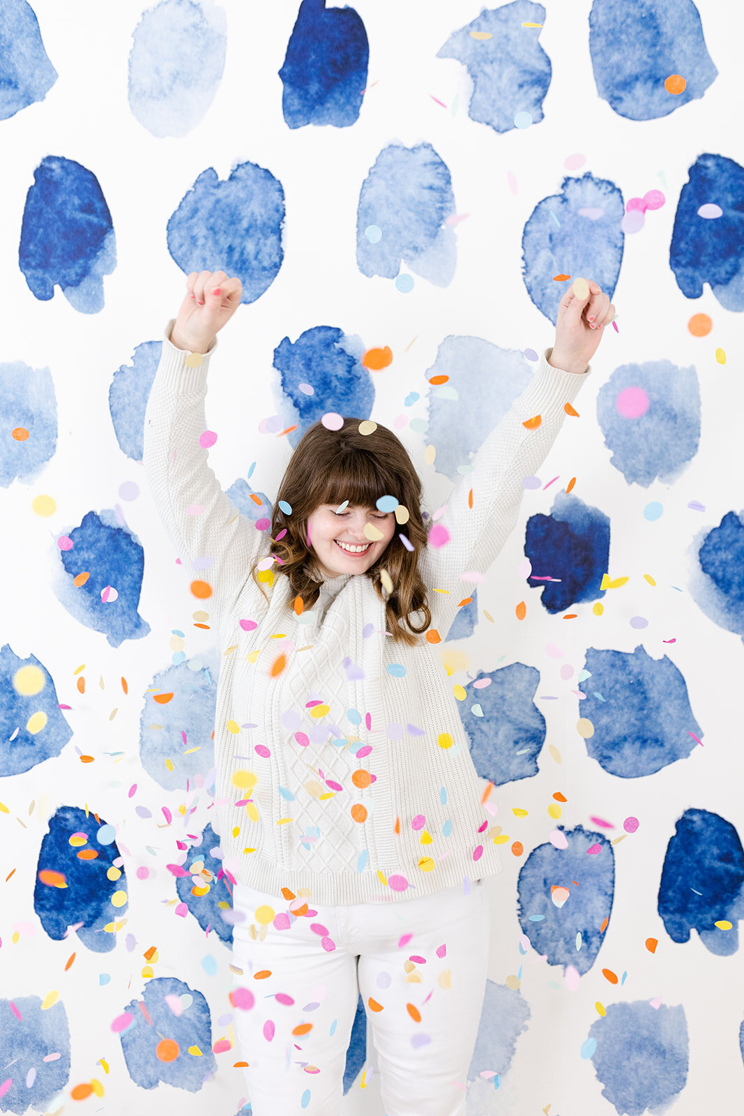 confetti with fun wall for branding photos