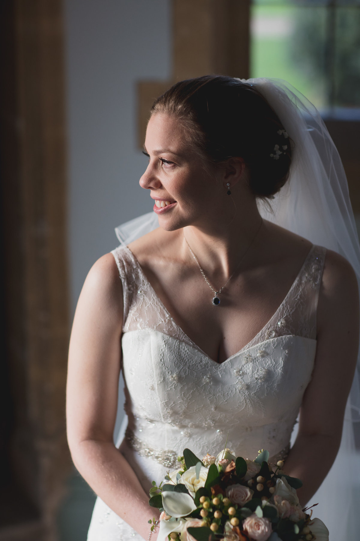 bride at winter wedding st audries park