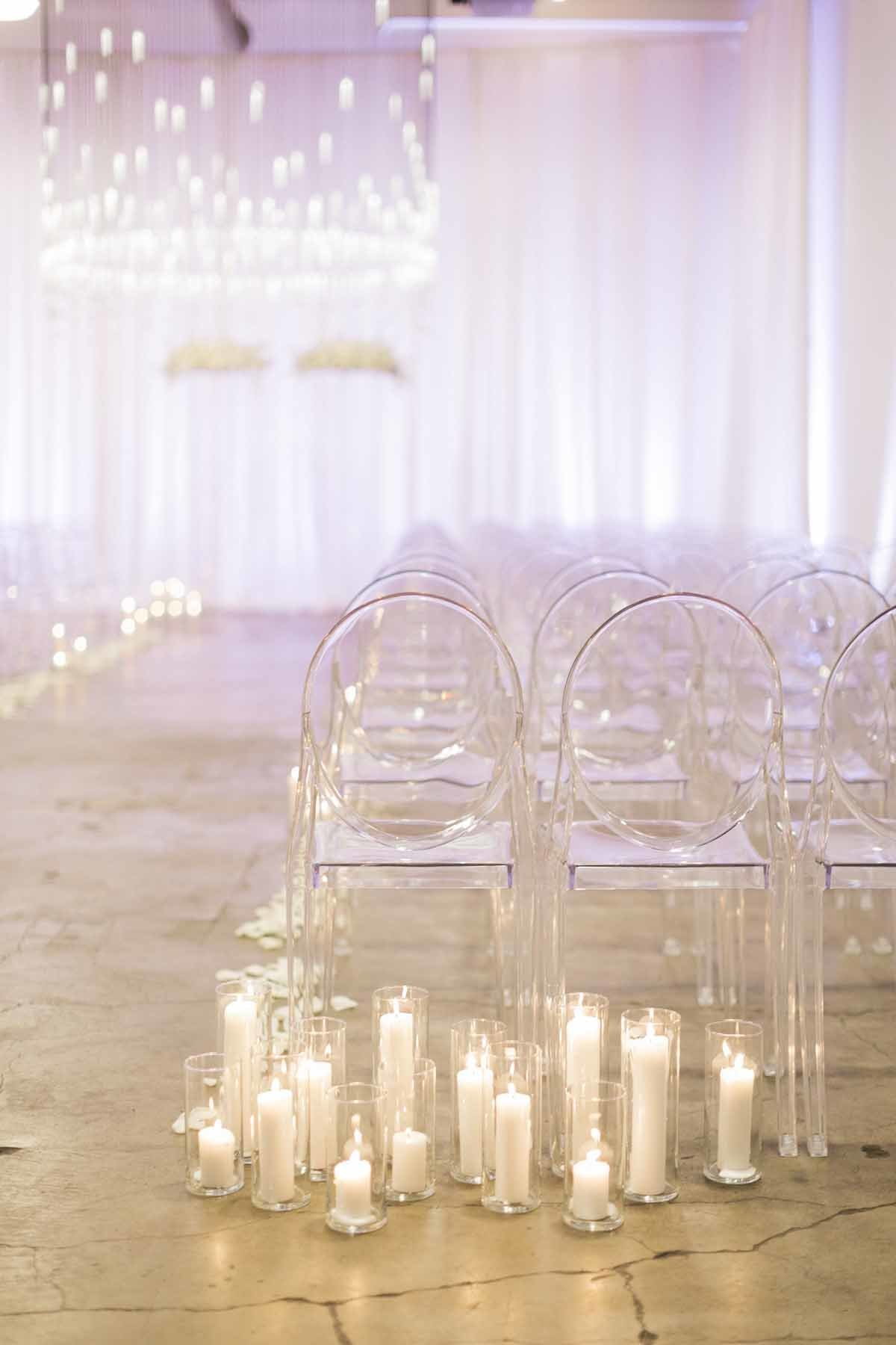What a dreamy ethereal white candlelit wedding ceremony